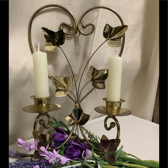 Vintage Other - Vintage Heart & Ivy Leaves Candle Holder